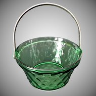 Green Glass Vintage Whipped Cream Pail Diamond Pattern