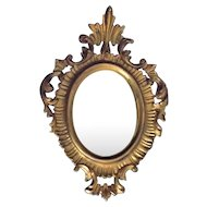 Gold Washed Wood Mirror Vintage Italy Rococo Style Vanity Dresser Desk
