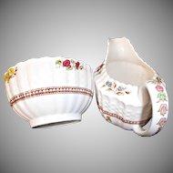 Copeland Spode England Rosalie Vintage Creamer Sugar Bowl Basket Weave Floral Pearls