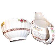 Copeland Spode Rosalie Vintage Creamer Sugar Bowl Basket Weave Floral Pearls