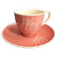 Susie Cooper Vintage Cup Saucer White Fruit on Peach Fluted Swirled Body