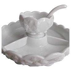 Westmoreland Paneled Grape Three Piece Appetizer Set Ladle Vintage Milk Glass