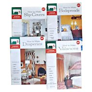 Four 1960 Vintage Singer Sewing Library Booklets Drapes Valances Bedspreads Slip Covers