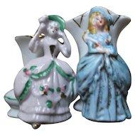 Pair of Vintage Porcelain Fairing Vases with Victorian Style Ladies Germany
