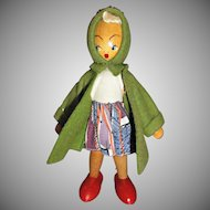 Vintage Strung Wooden Girl Doll Painted Face Green Felt Coat Cap Poland