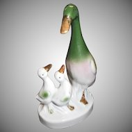 Porcelain Duck Figurine with Baby Ducklings Vintage Germany