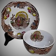 King Tom Turkey Ironstone Cup Saucer Vintage Brown Transfer Ware