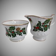 Clifton Bone China Creamer Sugar Holly Pinecones Berries Gold Gilt Holiday