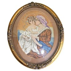 Circa 1940's Needlepoint Mary with Young Jesus Gold Gilt Wood Gesso Frame