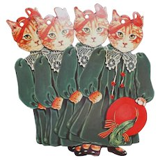 1984 Gift Tags Lady Cats Red Hat Bow Ribbons Die Cuts - Red Tag Sale Item