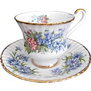 Paragon Cup Saucer Marriage Vintage Blue Pink Flowers Fluted Gold Trim