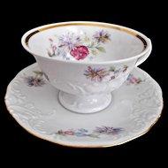 Rosecrest Cups Saucers Floral Scrolls Gold Trim Vintage China Walbrzych Poland