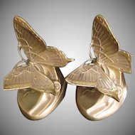 PM Craftsman Art Nouveau Style Brass Butterfly Bookends