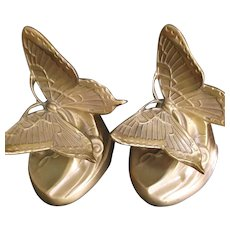 PM Craftsman Art Nouveau Style Brass Butterfly Bookends - Red Tag Sale Item