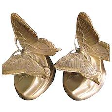 PM Craftsman Art Nouveau Style Brass Butterfly Bookends