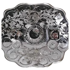 Elegant Vintage Glass Moon and Star with Silver Overlay Pedestal Fruit Bowl
