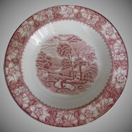 Wood and Sons Vintage Colonial Pink Transferware Bowls Soup Cereal Set of Three