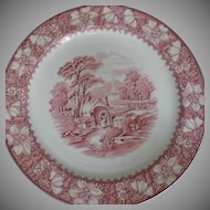 Seven Pink Dinner Plates Wood and Sons Vintage Colonial Pattern