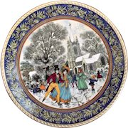 Royal Worcester Plate Christmas Past Boxing Day Sue Scullard Vintage Fine Bone China