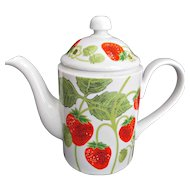 Fitz and Floyd Vintage Sweet Strawberry Tea Coffee Pot