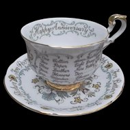 Paragon Marriage Wedding Vows Cup Saucer Set Vintage China Heart Birds Flowers