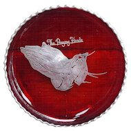 Elegant footed Ruby Red Glass Shallow Bowl Praying Hands Silver Overlay