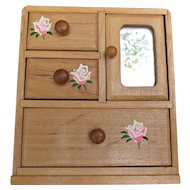 Pine Dresser Armoire Mirror Hand Painted Roses Dolls