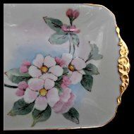 Arts Crafts China Blank Hand Painted Tray Helen Davis Apple Blossoms Gold Gilt