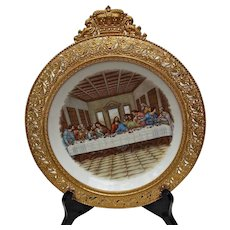 Vintage Last Supper Transfer Plate with Gold Washed Repousse' Metal Frame