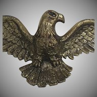 Mid Century Vintage Brass Cast Metal Eagle Wall Hanging