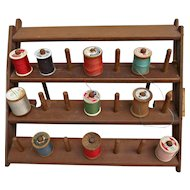 Vintage Arts and Crafts Wooden Spool Thread Holder with Ten Vintage Spools
