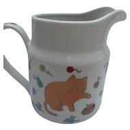 Whimsical Vintage Takahashi Ceramic Milk Pitcher Cats Mice Yarn