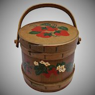 Vintage Wood Firkin Bucket Tub Hand Painted Strawberries