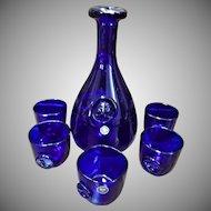 Danish Cobalt Blue Glass Viking Decanter Wine Glasses Kastrup Holmegaard