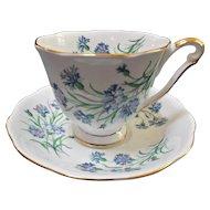 Princess Anne Vintage Bone China Tea Cup Saucer Set Blue Cornflowers Gold Gilt
