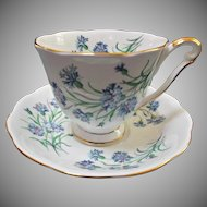 Princess Anne Vintage Bone China Tea Cup Saucer Set Blue Cornflowers Gold Gilt