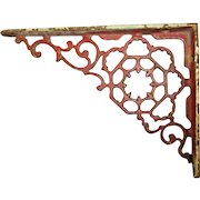 Vintage Cast Iron Bracket Red Paint Shabby Home Decor