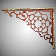 Vintage Cast Iron Bracket Red Paint Shabby Home Decor
