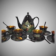 Vintage Asian Black Lacquer Ware Teapot Cups Saucers Spoons Handpainted
