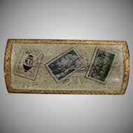 Gold Gilded Vintage Wooden Italian Stamp Box