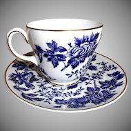 Wedgwood Blue and White Floral Cup and Saucer Vintage Bone China Teacup