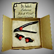 Black Branch Coral Brooch and Clip Earrings Vintage DE Ankos Lahaina Hawaii
