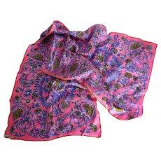Vera Lady Bug Vintage Rectangular Scarf Silk Handrolled Edges Pink Gold Purple