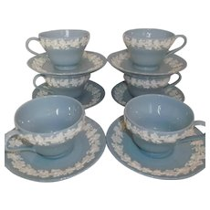 Wedgwood Etruria Embossed Queens Ware Cup Saucer Sets 6