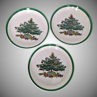 Three Vintage Spode Christmas Tree Coasters