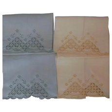 Madeira Vintage Linen Hand Towels Yellow Green Embroidered 4