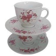 Vintage Seltmann Bavaria Porcelain Cup and Saucer Sets 4 Pink Floral