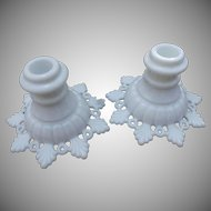 Westmoreland Ring and Petal Vintage Milk Glass Candlesticks Candleholders