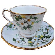 Royal Albert White Dogwood Cup Saucer Vintage China Gold Gilt
