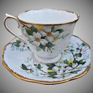 Royal Albert White Dogwood Cup Saucer Vintage China Gold Gilt